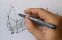Søren tegner og fortæller om et traditionelt bindingsværkhus
